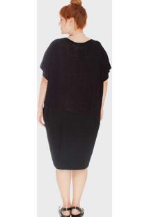 Vestido Recorte Diagonal Duas Texturas Plus Size P
