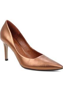 Scarpin Couro Shoestock Salto Alto Mestiço Graciela - Feminino-Bronze
