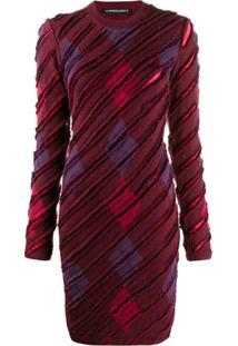 Y/Project Vestido De Tricô Com Listrado Diagonal - Vermelho