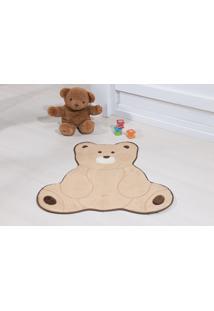 Tapete Antiderrapante Formato Urso Fofo Bege 0,74 X 0,70 Guga Tapetes