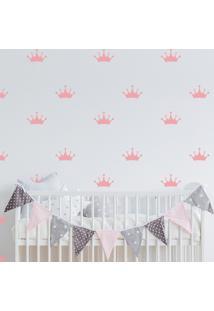 Adesivo De Parede Infantil Quartinhos Coroa Rosa