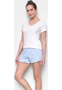 Pijama Curto Hering Short-Doll Poá Feminino - Feminino-Azul+Branco