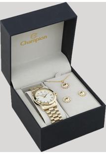 Kit De Relógio Analógico Champion Feminino + Colar + Brinco - Cn25047W Dourado - Único