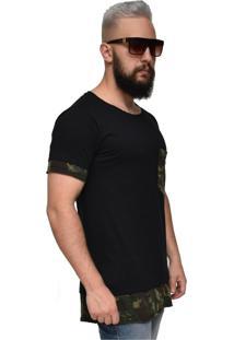 Camiseta Long Dalcomuni Double Militar Preto