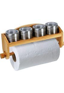 Porta Condimentos Tempero Bambu C/ Suporte Para Papel Toalha Marrom