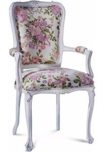 Cadeira Com Braço Provençal Entalhada Madeira Maciça Design De Luxo Peça Artesanal