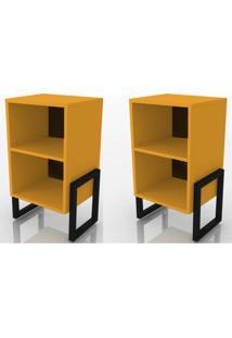 Kit 2 Criados Mudo Wolli Amarelo - Fit Mobel
