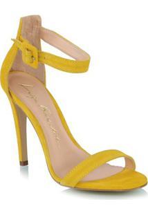 Sandália Salto Alto Em Camurça Amarela
