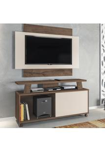 Rack Com Painel Para Tv Até 50 Polegadas Rivera 1 Porta Mocaccino Rústico/3D Natura Off White - Atualle Móveis