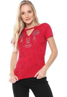 Blusa Cativa Disney Mickey Glitter Vermelha