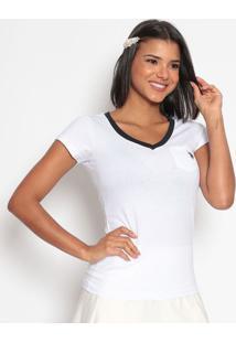 Camiseta Com Bolso- Branca & Azul Marinhous Polo