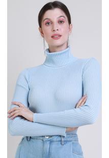 Blusa De Tricô Feminina Mindset Canelada Manga Longa Gola Rolê Azul Claro