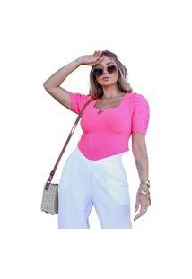 Blusa Santorini Pink Tricot Com Manga Prega Bico Feminina Shopping Do Tricô
