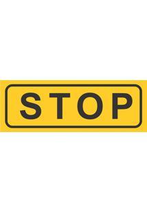 Placa Decorativa Stop Preta E Amarela