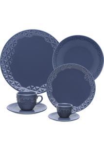 Aparelho De Jantar 42 Peças Oxford Mia Maré Porcelana Azul