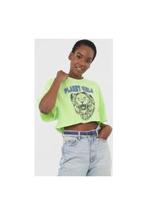 Camiseta Cropped Planet Girls Leão Verde