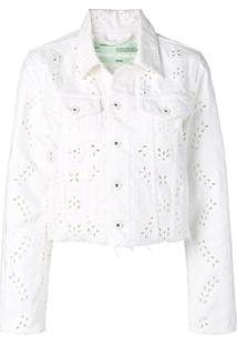 Off-White Jaqueta Jeans Com Bordado Inglês - Branco