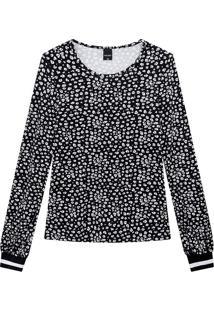 Blusa Estampada Com Punho Malwee Preto - Pp