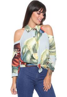 Camisa Lez A Lez Cut Off Mangara Azul/Verde