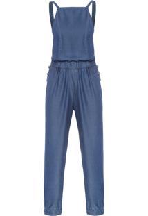 Macacão Feminino Jeans Barra Elástico - Azul