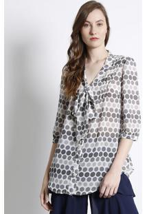 8c36be0250 ... Camisa Em Poá Com Amarração- Off White   Cinzasusan Zheng