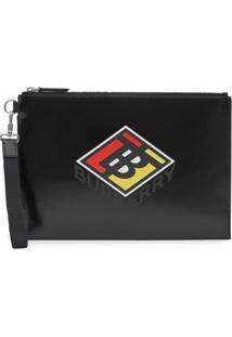 Burberry Clutch Com Zíper E Logo - Preto