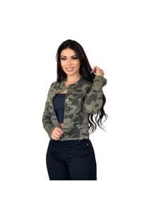 Jaqueta Jeans Destmoda Camuflada Militar Verde