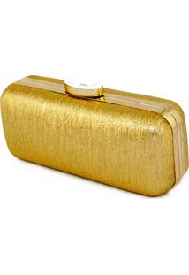 Clutch Dourada Em Tecido Com Brilho