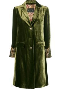 Etro Casaco Com Bordado Nos Punhos - Verde