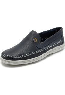 Sapato Couro Mariner Pesponto Azul-Marinho