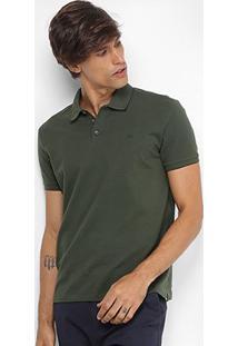 Camisa Polo Jab Piquet Friso Masculina - Masculino-Verde Militar