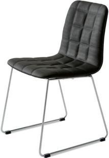 Cadeira Quadra Slim Assento Estofado Linho Preto Com Base Cromada - 46891 - Sun House