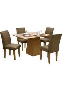 Mesa Para Sala De Jantar Com 4 Cadeiras Florença – Dôbue - Mel / Bege / Castor