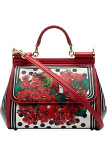Dolce & Gabbana Bolsa Tote Floral 'Sicily' Média - Vermelho