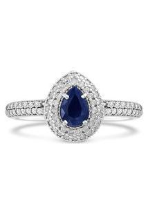 Anel Ouro Branco Diamantes E Safira
