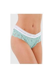 Calcinha Calvin Klein Underwear Tanga Renda Verde