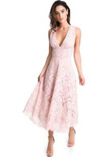 Vestido Miss Hirsch Renda Midi Feminino - Feminino-Rosa