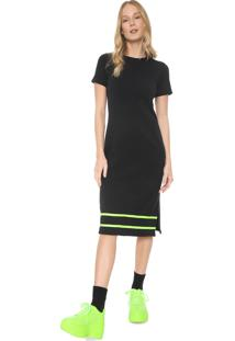 Vestido Fiveblu Midi Faixa Neon Preto/Verde
