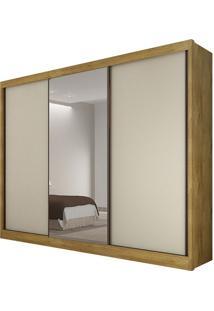Guarda Roupa Diamond 3 Portas Com Espelho Freijo/Off White