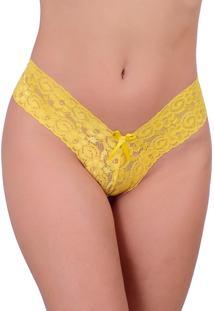 Calcinha Vip Lingerie Tanga Renda Amarelo