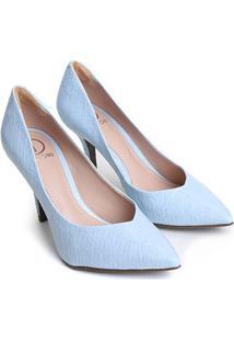 Scarpin Couro Dumond Bico Fino Salto Alto - Feminino-Azul Claro