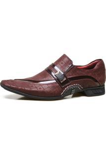 Sapato Social Calvest Em Couro Nobuck Com Textura Bordo