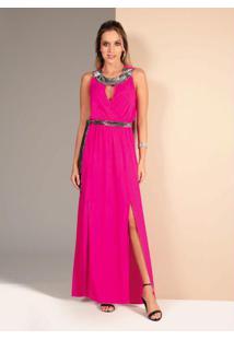 Vestido Pink Detalhe Metalizado E Fendas