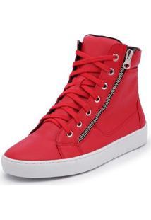 Tênis Cano Alto Top Franca Shoes Ziper Feminino - Feminino-Vermelho