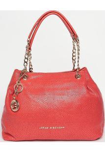 Bolsa Em Couro Com Correntes - Vermelha- 23X45X11Cmjorge Bischoff