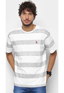Camiseta U.S. Polo Assn Estampada Masculina - Masculino-Cinza