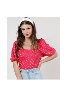 Blusa Feminina Estampada De Poá Manga Bufante Decote Reto Pink