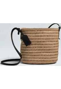 Bolsa Mini Bucket Palha-Natural/Preto - Un
