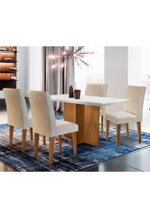 Conjunto De Mesa De Jantar Ane Com 4 Cadeiras Estofadas Grécia Veludo Off White E Creme
