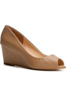 Peep Toe Couro Shoestock Anabela - Feminino-Nude